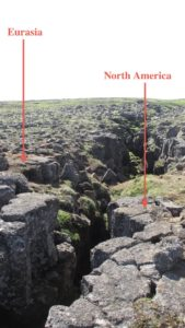 Eurasia/North American fault line in lava field.