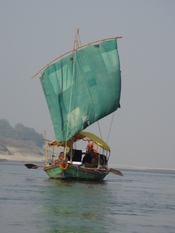 Sail boat on the Ganges river.