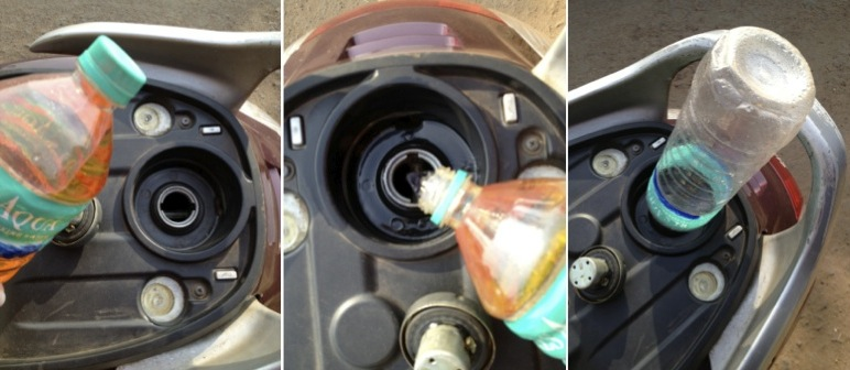 Gassing up from a water bottle.