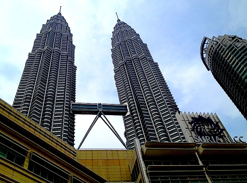 View of Petronas twin towers, looking up from the mall entrance.