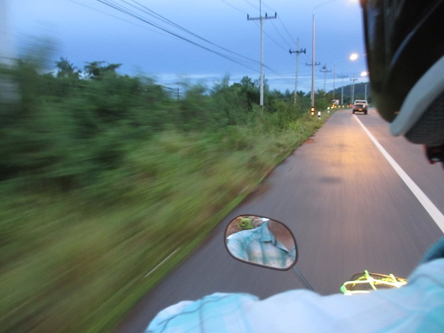 Heading home from Chaiya, on the back of a motorbike