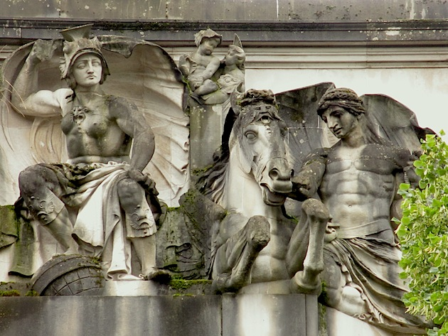 Queen Boudicca sculpture on the Civic Centre in Cardiff