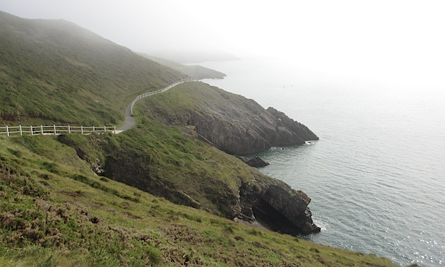 Clifftop path on Caswell Bay