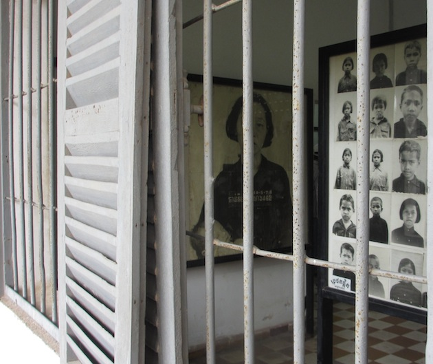 Photo displays at Toul Sleng prison museum
